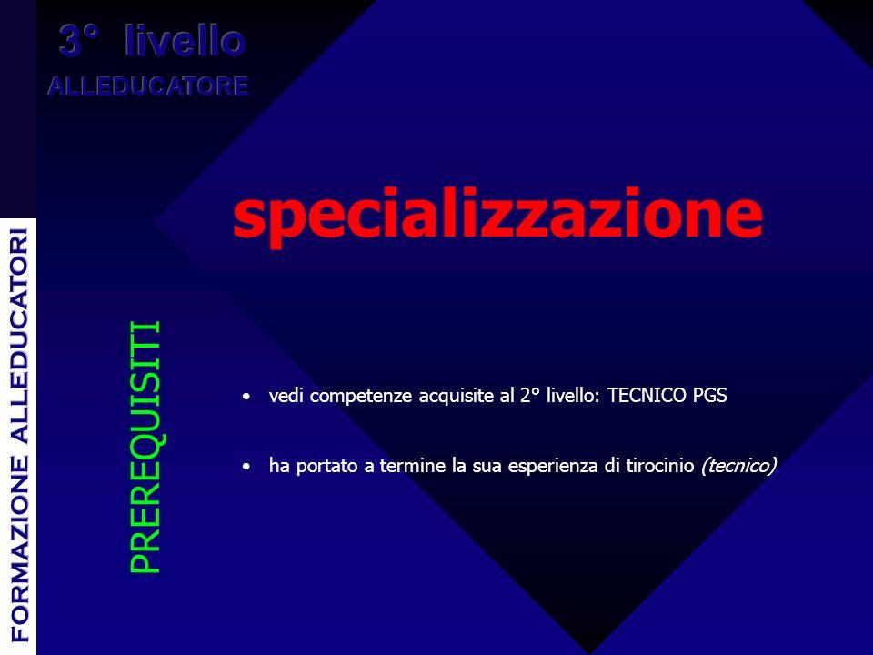specializzazione vedi competenze acquisite al 2° livello: TECNICO PGS ha portato a termine la sua esperienza di tirocinio (tecnico) PREREQUISITI