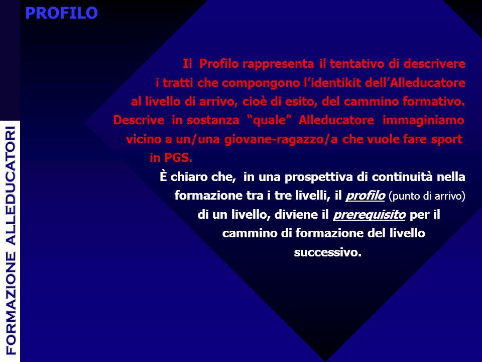 PROFILO Il Profilo rappresenta il tentativo di descrivere i tratti che compongono lidentikit dellAlleducatore al livello di arrivo, cioè di esito, del