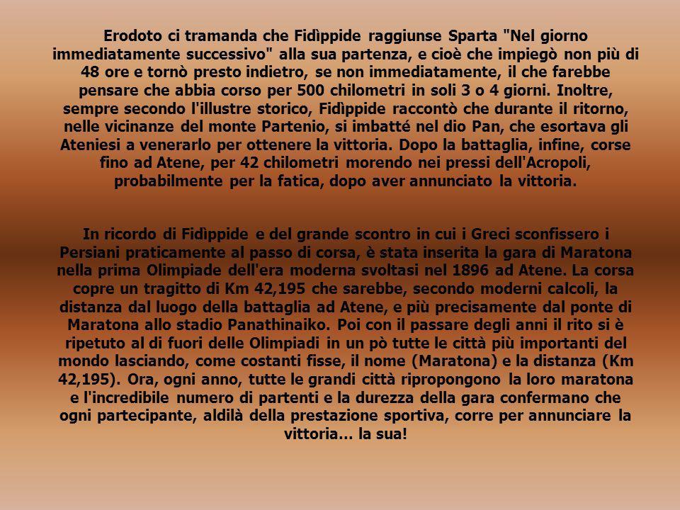 Erodoto ci tramanda che Fidìppide raggiunse Sparta