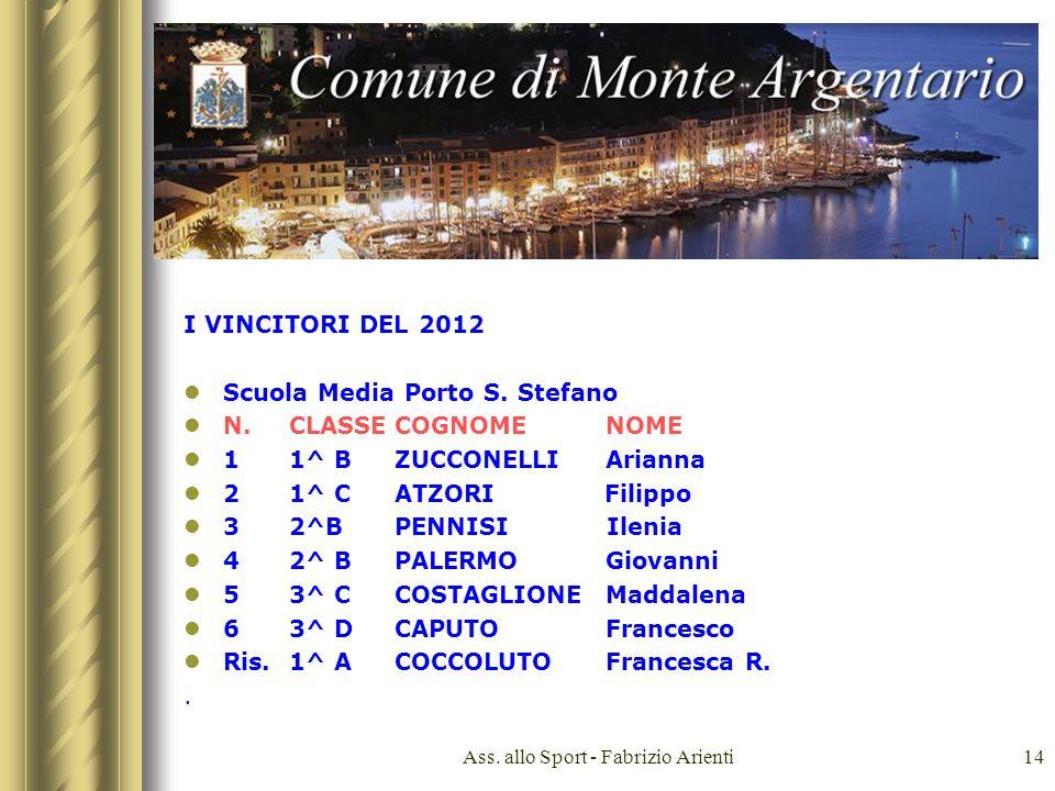 Ass. allo Sport - Fabrizio Arienti14 I VINCITORI DEL 2012 Scuola Media Porto S.
