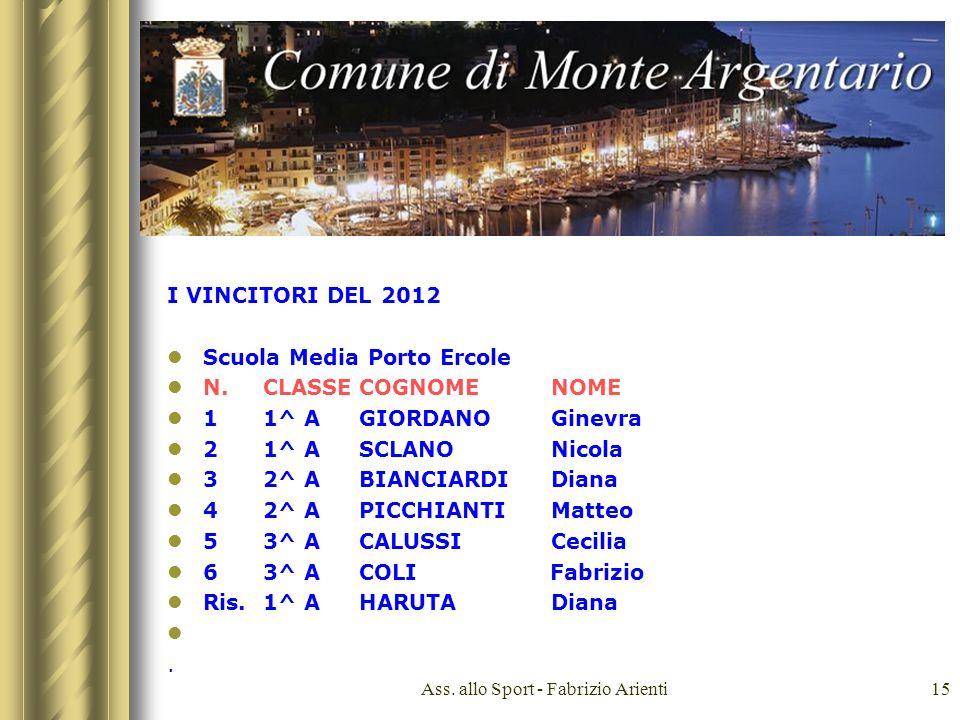 Ass. allo Sport - Fabrizio Arienti15 I VINCITORI DEL 2012 Scuola Media Porto Ercole N.CLASSECOGNOME NOME 11^ AGIORDANOGinevra 21^ ASCLANONicola 32^ AB