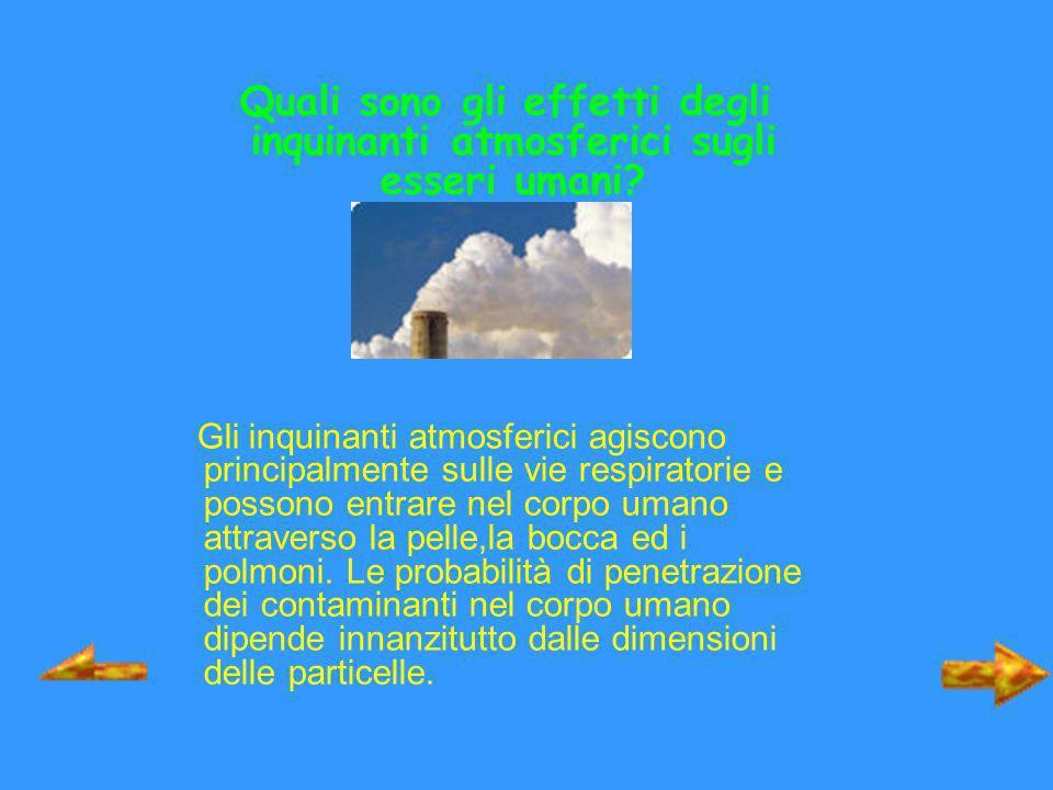 Quali sono gli effetti degli inquinanti atmosferici sugli esseri umani? Gli inquinanti atmosferici agiscono principalmente sulle vie respiratorie e po