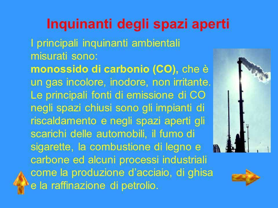Inquinanti degli spazi aperti I principali inquinanti ambientali misurati sono: monossido di carbonio (CO), che è un gas incolore, inodore, non irrita