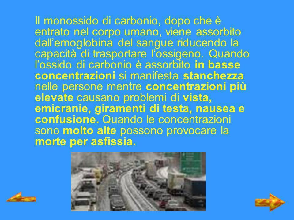 Il monossido di carbonio, dopo che è entrato nel corpo umano, viene assorbito dallemoglobina del sangue riducendo la capacità di trasportare lossigeno
