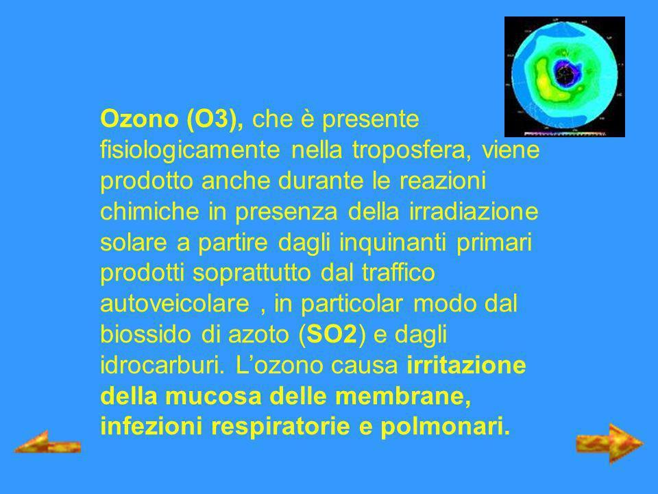 Ozono (O3), che è presente fisiologicamente nella troposfera, viene prodotto anche durante le reazioni chimiche in presenza della irradiazione solare