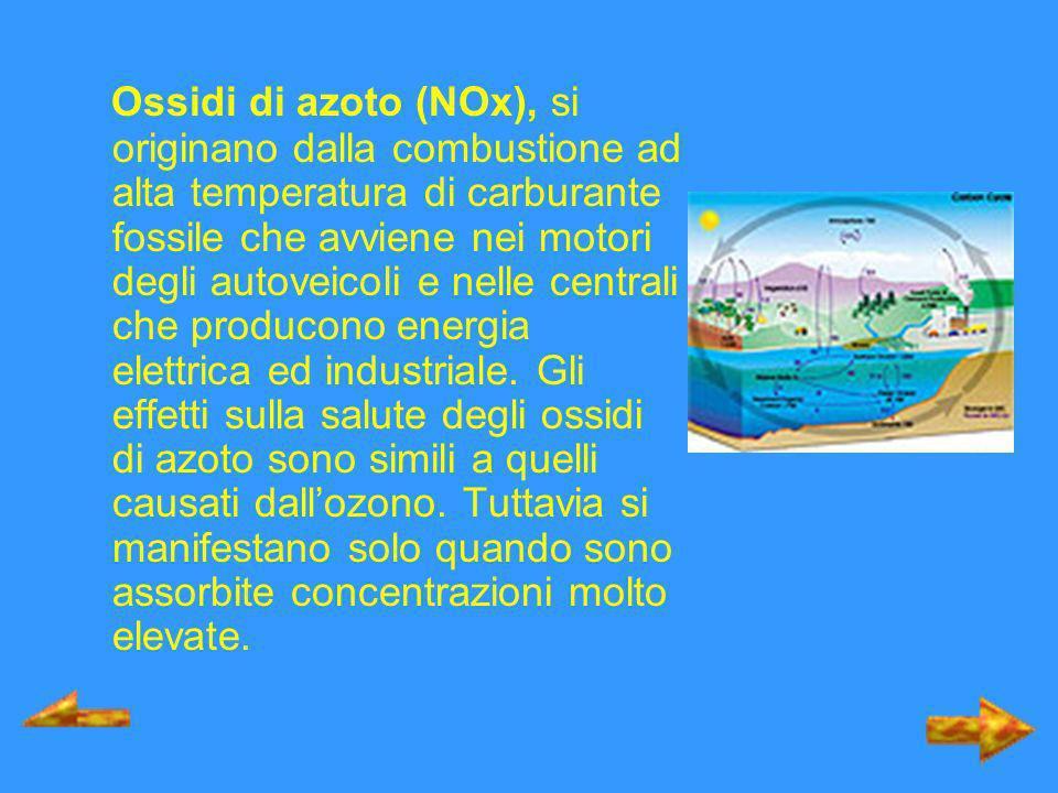 Ossidi di azoto (NOx), si originano dalla combustione ad alta temperatura di carburante fossile che avviene nei motori degli autoveicoli e nelle centr