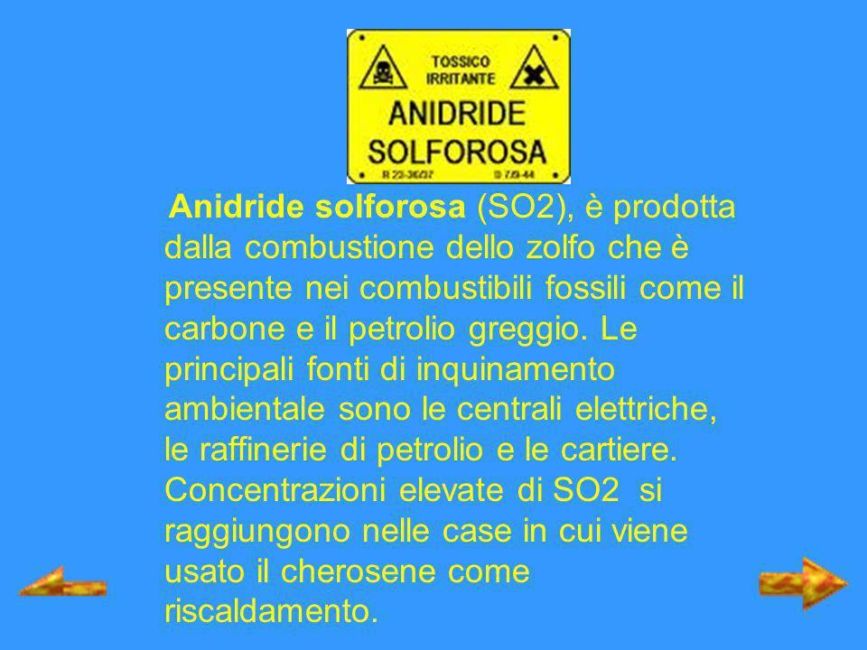 Anidride solforosa (SO2), è prodotta dalla combustione dello zolfo che è presente nei combustibili fossili come il carbone e il petrolio greggio. Le p