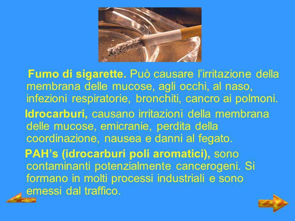 Fumo di sigarette. Può causare lirritazione della membrana delle mucose, agli occhi, al naso, infezioni respiratorie, bronchiti, cancro ai polmoni. Id