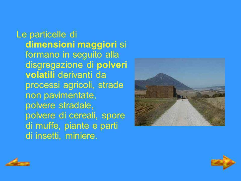 Le particelle di dimensioni maggiori si formano in seguito alla disgregazione di polveri volatili derivanti da processi agricoli, strade non pavimenta