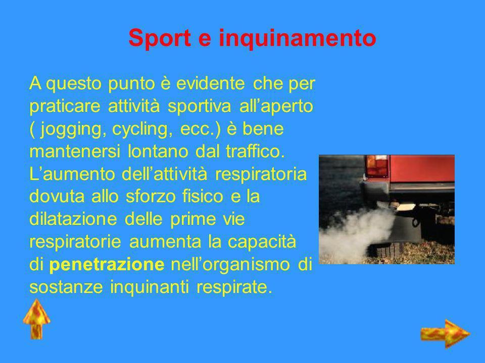 Sport e inquinamento A questo punto è evidente che per praticare attività sportiva allaperto ( jogging, cycling, ecc.) è bene mantenersi lontano dal t
