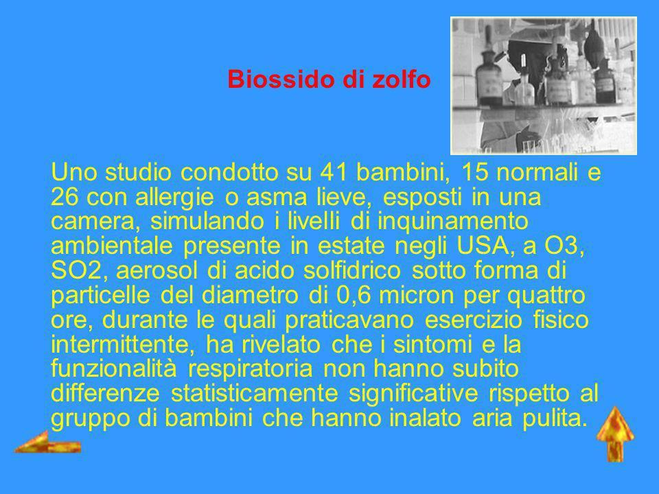 Biossido di zolfo Uno studio condotto su 41 bambini, 15 normali e 26 con allergie o asma lieve, esposti in una camera, simulando i livelli di inquinam