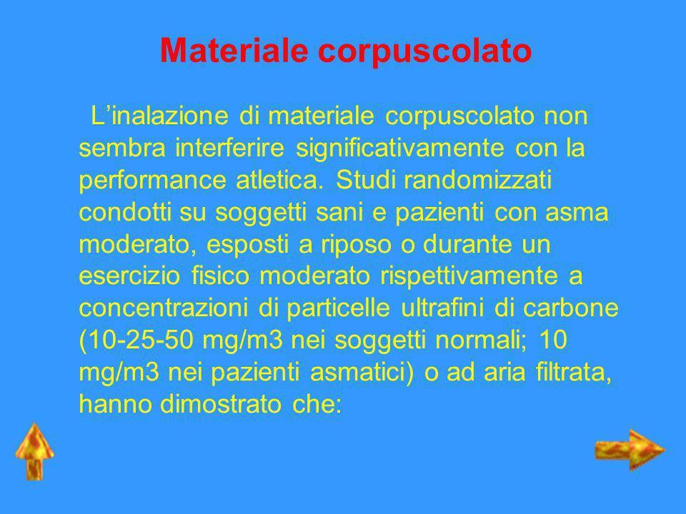 Materiale corpuscolato Linalazione di materiale corpuscolato non sembra interferire significativamente con la performance atletica. Studi randomizzati
