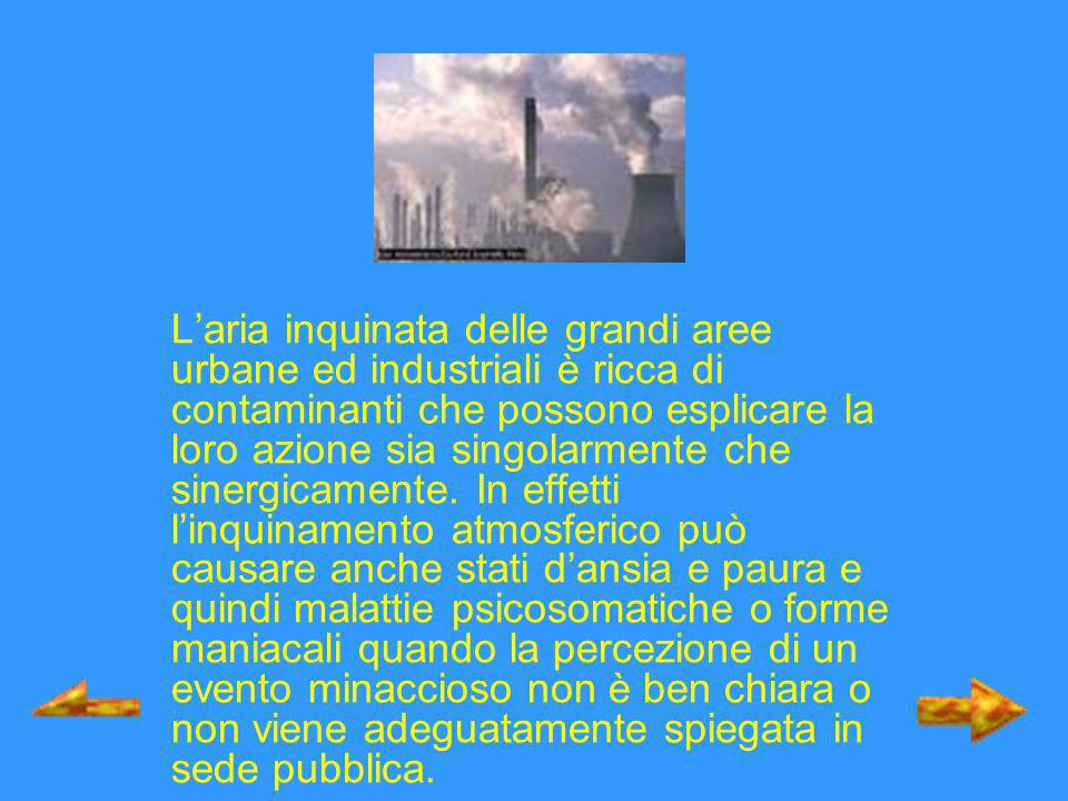 Inquinamenti ambientali ConcentrazioneTempo di esposizione Monossido di carbonio 10 mg/m 3 9 ppmMedia di 8 h Ozono110 mg/m 3 0,056 ppmMedia di 8 h Biossido di azoto 250 mg/m 3 0,13 ppmMedia di 1 h Biossido di zolfo 350 mg/m 3 125 mg/m 3 0,13 ppm 0,048 ppm Media di 1 h Media di 24 h Materiale articolato (PM 10 ) 50 mg/m 3 Media di 24 h PM 2,5 65 mg/m 3 Media di 24 h