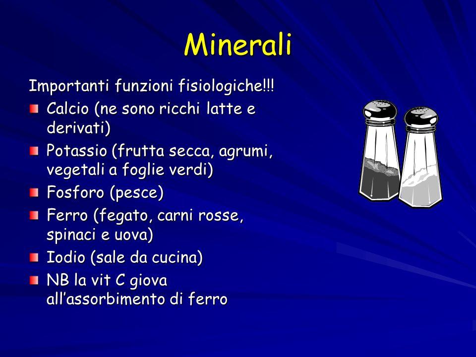 Minerali Importanti funzioni fisiologiche!!! Calcio (ne sono ricchi latte e derivati) Potassio (frutta secca, agrumi, vegetali a foglie verdi) Fosforo