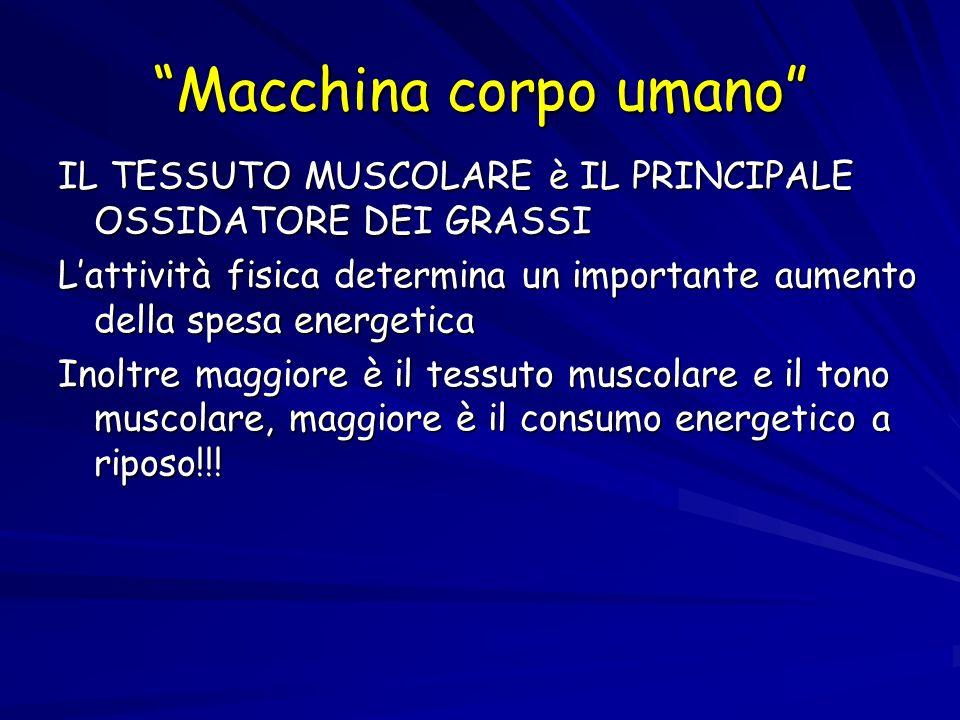 Macchina corpo umano Secondo i dati ISTAT: 1 bambino su 5 1adulto su 10 SONO OBESI!!!!.