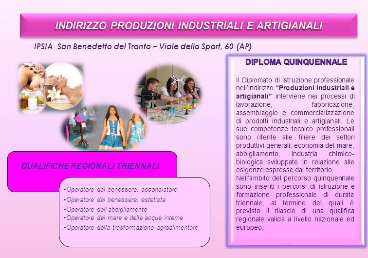 IPSIA San Benedetto del Tronto – Viale dello Sport, 60 (AP) Il Diplomato di istruzione professionale nellindirizzo Produzioni industriali e artigianal