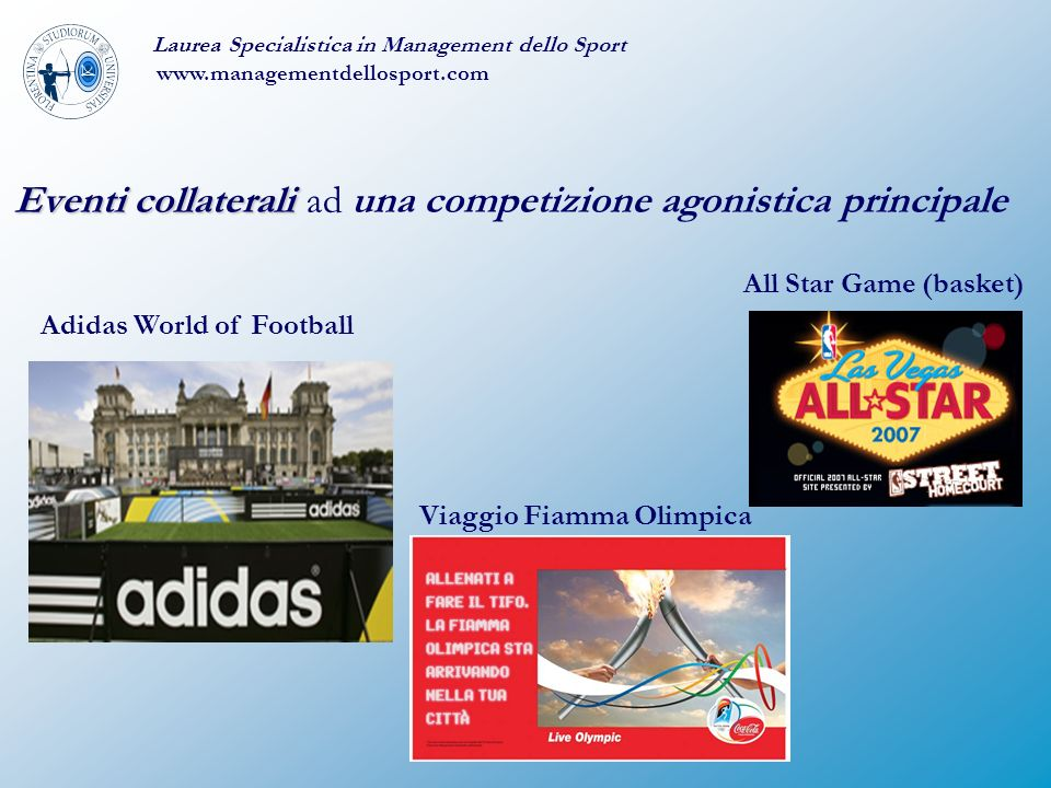 Eventi collaterali Eventi collaterali ad una competizione agonistica principale Laurea Specialistica in Management dello Sport www.managementdellosport.com Adidas World of Football Viaggio Fiamma Olimpica All Star Game (basket)