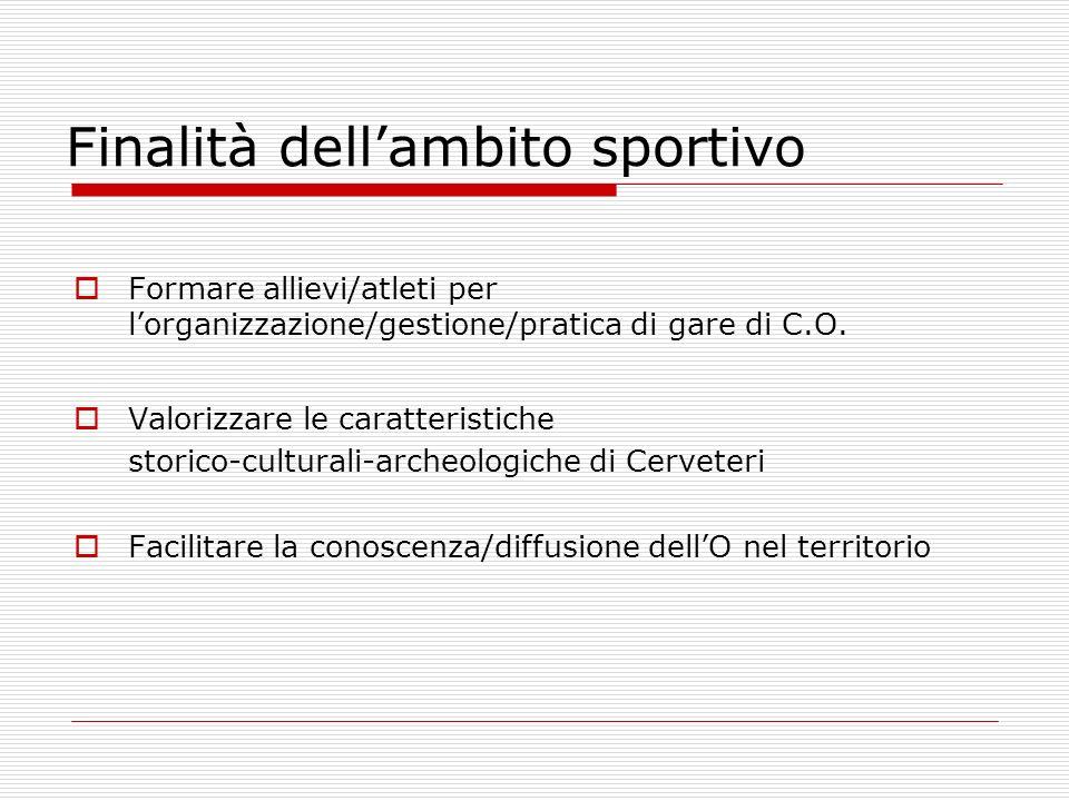 Finalità dellambito sportivo Formare allievi/atleti per lorganizzazione/gestione/pratica di gare di C.O.
