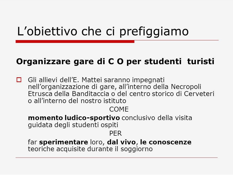 Lobiettivo che ci prefiggiamo Organizzare gare di C O per studenti turisti Gli allievi dellE.