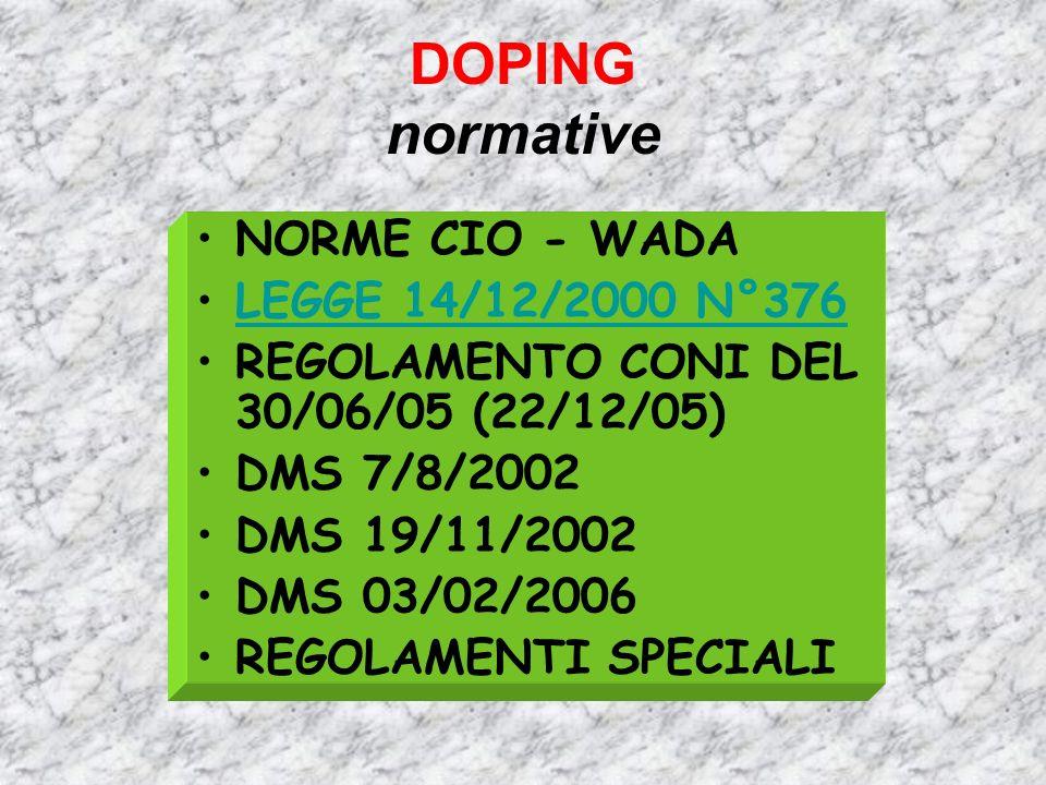 DOPING normative NORME CIO - WADA LEGGE 14/12/2000 N°376 REGOLAMENTO CONI DEL 30/06/05 (22/12/05) DMS 7/8/2002 DMS 19/11/2002 DMS 03/02/2006 REGOLAMEN