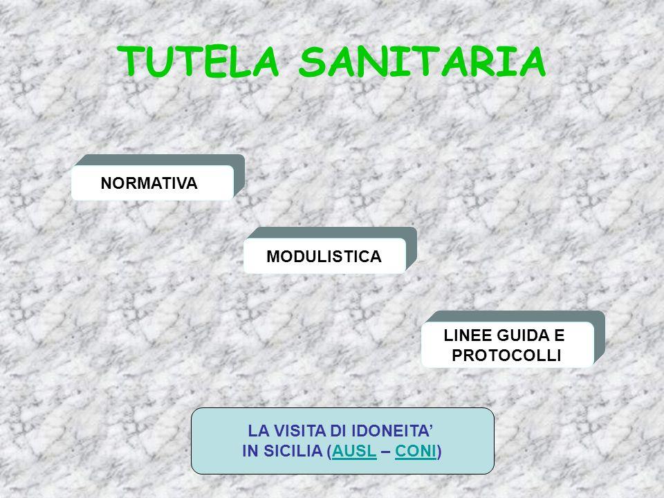TUTELA SANITARIA NORMATIVA MODULISTICA LINEE GUIDA E PROTOCOLLI LA VISITA DI IDONEITA IN SICILIA (AUSL – CONI)AUSLCONI
