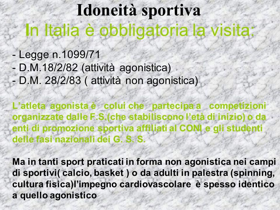 Idoneità sportiva In Italia è obbligatoria la visita: - Legge n.1099/71 - D.M.18/2/82 (attività agonistica) - D.M. 28/2/83 ( attività non agonistica)