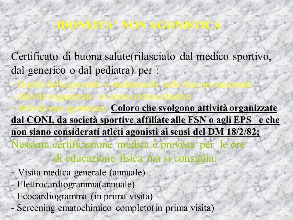 IDONEITA NON AGONISTICA Certificato di buona salute(rilasciato dal medico sportivo, dal generico o dal pediatra) per : - Giochi della gioventù o stude
