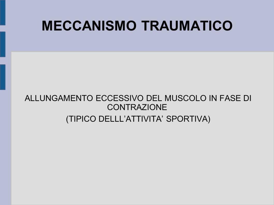 MECCANISMO TRAUMATICO ALLUNGAMENTO ECCESSIVO DEL MUSCOLO IN FASE DI CONTRAZIONE (TIPICO DELLLATTIVITA SPORTIVA)