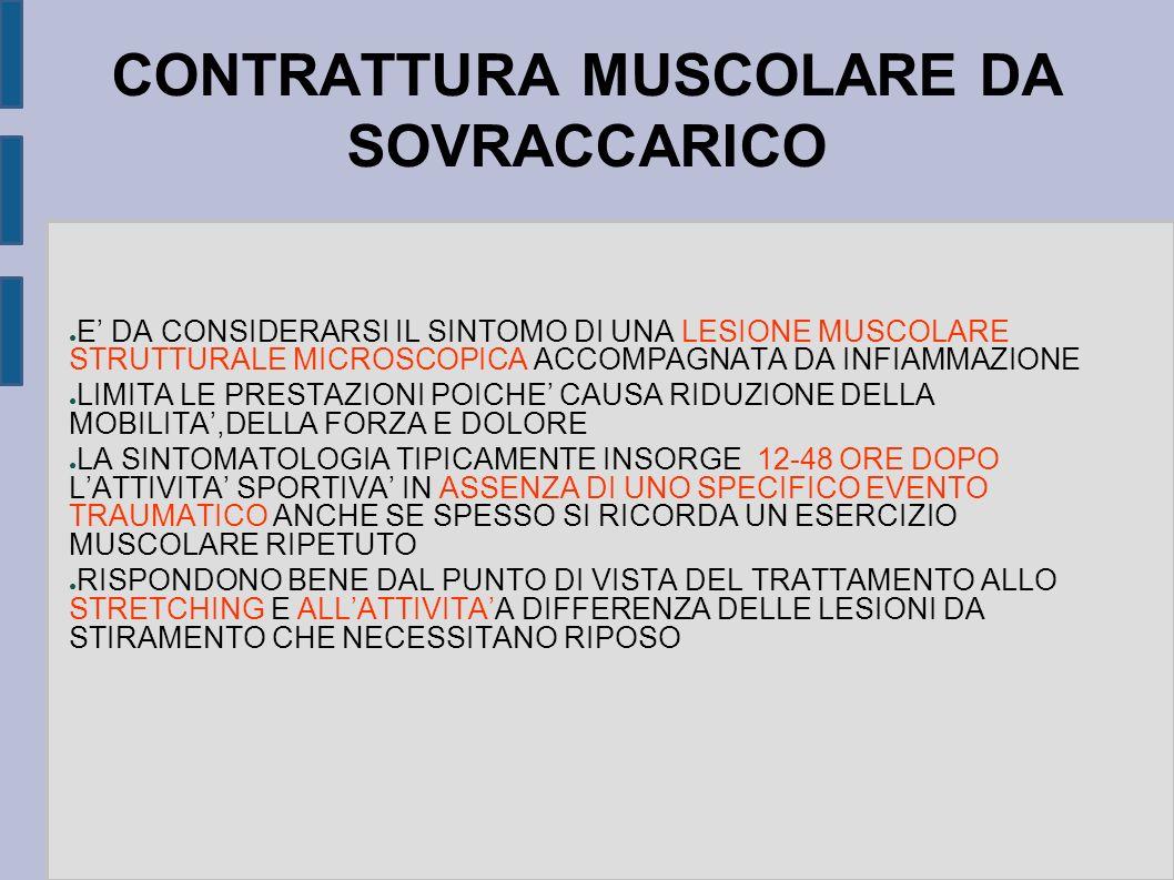 CONTRATTURA MUSCOLARE DA SOVRACCARICO E DA CONSIDERARSI IL SINTOMO DI UNA LESIONE MUSCOLARE STRUTTURALE MICROSCOPICA ACCOMPAGNATA DA INFIAMMAZIONE LIM