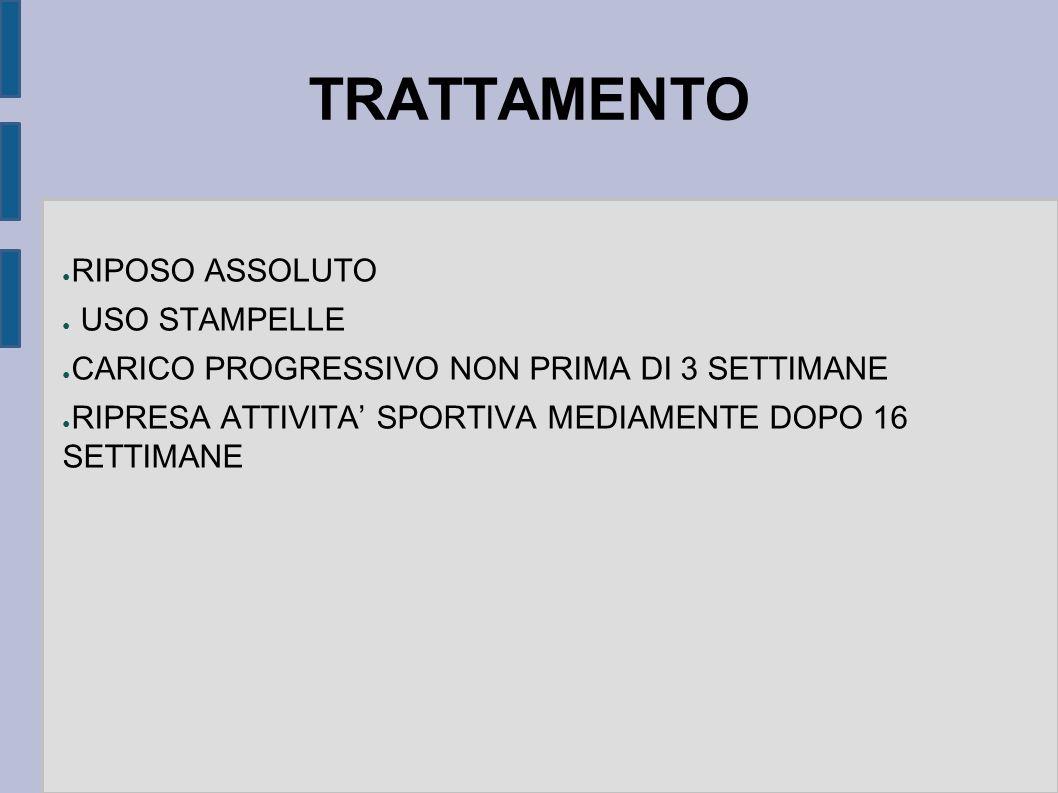 TRATTAMENTO RIPOSO ASSOLUTO USO STAMPELLE CARICO PROGRESSIVO NON PRIMA DI 3 SETTIMANE RIPRESA ATTIVITA SPORTIVA MEDIAMENTE DOPO 16 SETTIMANE