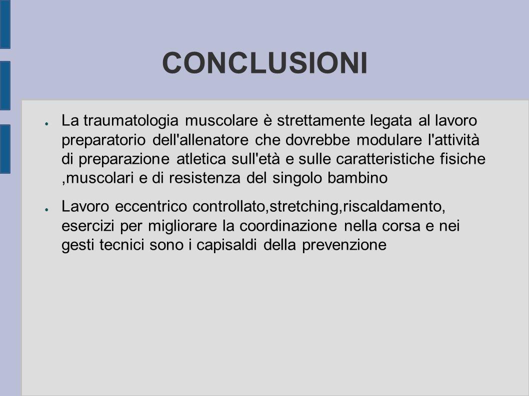 CONCLUSIONI La traumatologia muscolare è strettamente legata al lavoro preparatorio dell'allenatore che dovrebbe modulare l'attività di preparazione a