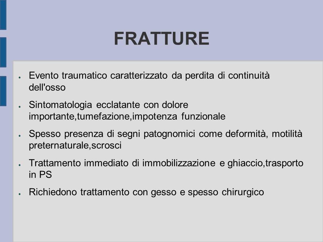 FRATTURE Evento traumatico caratterizzato da perdita di continuità dell'osso Sintomatologia ecclatante con dolore importante,tumefazione,impotenza fun