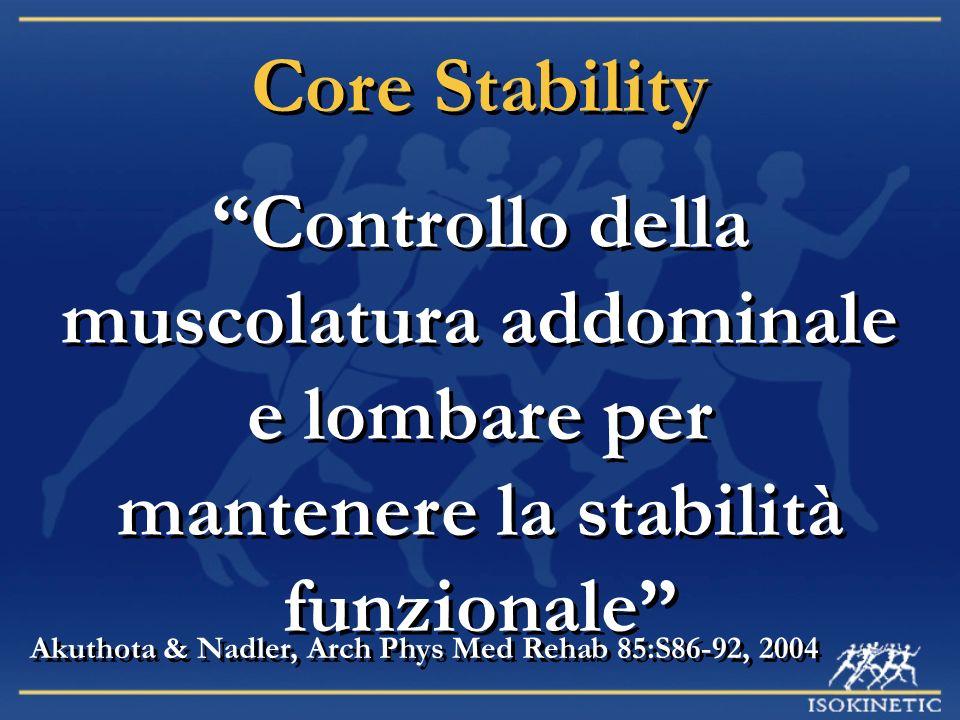 Core Stability Controllo della muscolatura addominale e lombare per mantenere la stabilità funzionale Akuthota & Nadler, Arch Phys Med Rehab 85:S86-92