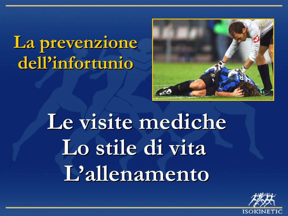 La prevenzione dellinfortunio Le visite mediche Lo stile di vita Lallenamento Le visite mediche Lo stile di vita Lallenamento