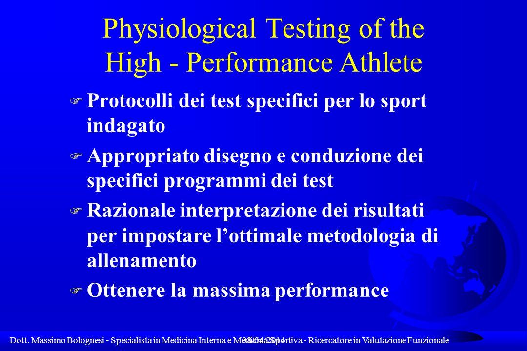 Dott. Massimo Bolognesi - Specialista in Medicina Interna e Medicina Sportiva - Ricercatore in Valutazione Funzionale08/04/2014 Physiological Testing