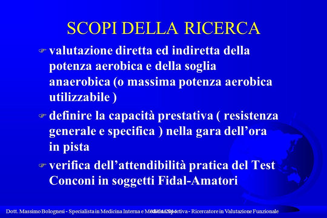 Dott. Massimo Bolognesi - Specialista in Medicina Interna e Medicina Sportiva - Ricercatore in Valutazione Funzionale08/04/2014 SCOPI DELLA RICERCA F