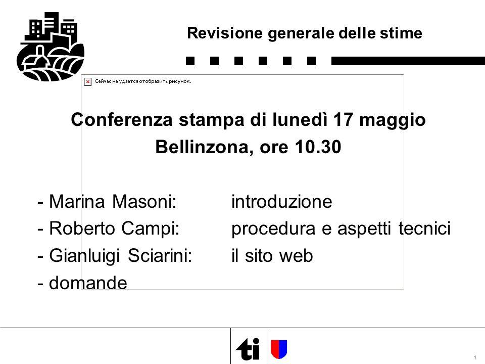 1 Revisione generale delle stime Conferenza stampa di lunedì 17 maggio Bellinzona, ore 10.30 - Marina Masoni:introduzione - Roberto Campi:procedura e
