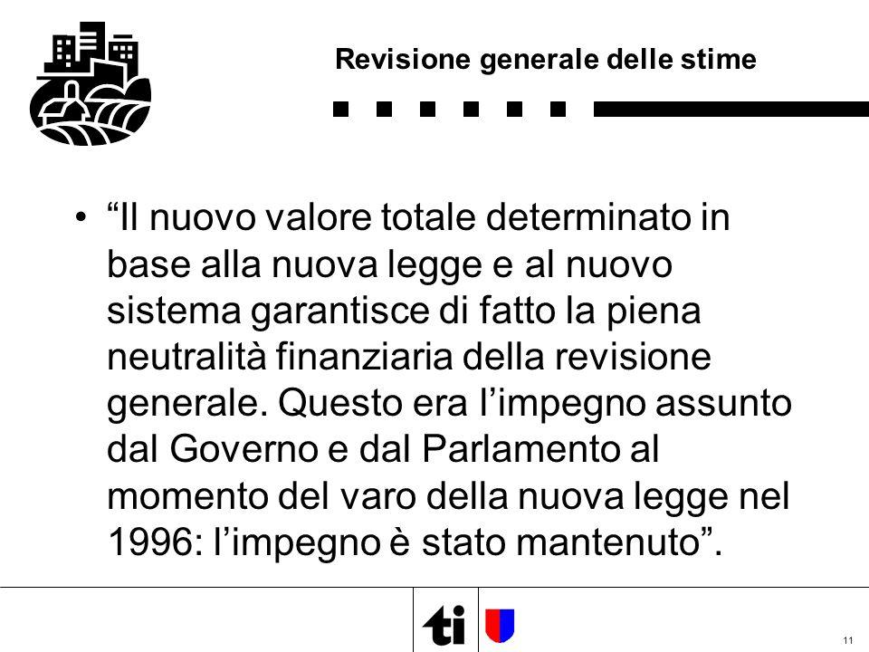 11 Revisione generale delle stime Il nuovo valore totale determinato in base alla nuova legge e al nuovo sistema garantisce di fatto la piena neutralità finanziaria della revisione generale.