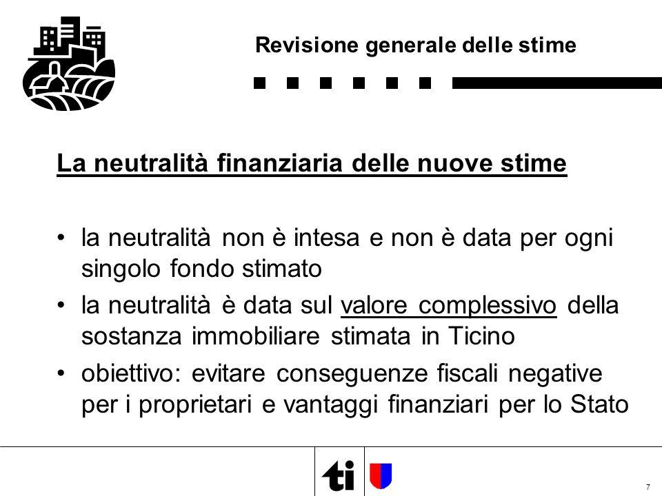 7 Revisione generale delle stime La neutralità finanziaria delle nuove stime la neutralità non è intesa e non è data per ogni singolo fondo stimato la