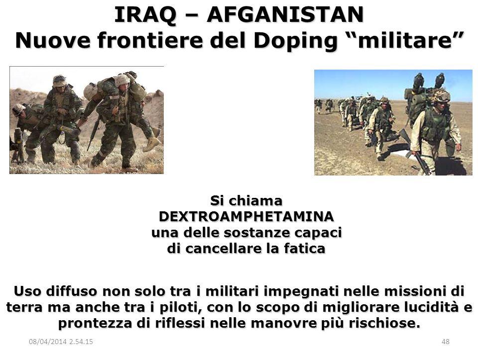 Si chiama DEXTROAMPHETAMINA una delle sostanze capaci di cancellare la fatica IRAQ – AFGANISTAN Nuove frontiere del Doping militare Uso diffuso non so