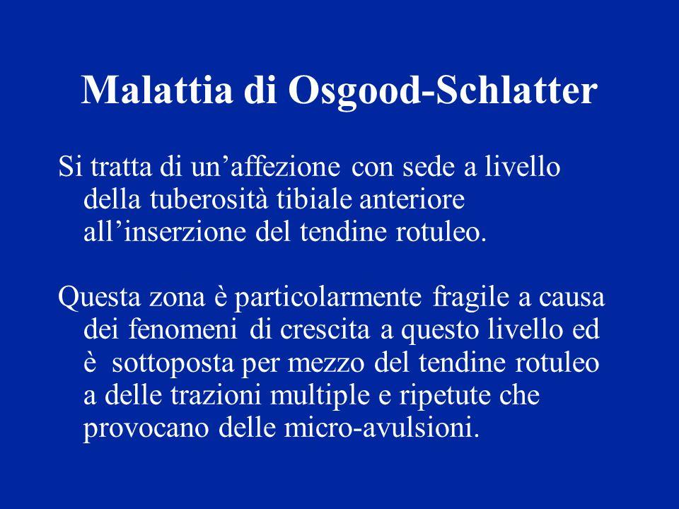 Malattia di Osgood-Schlatter Si tratta di unaffezione con sede a livello della tuberosità tibiale anteriore allinserzione del tendine rotuleo. Questa