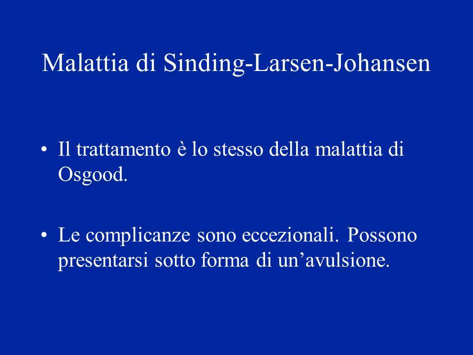 Malattia di Sinding-Larsen-Johansen Il trattamento è lo stesso della malattia di Osgood. Le complicanze sono eccezionali. Possono presentarsi sotto fo