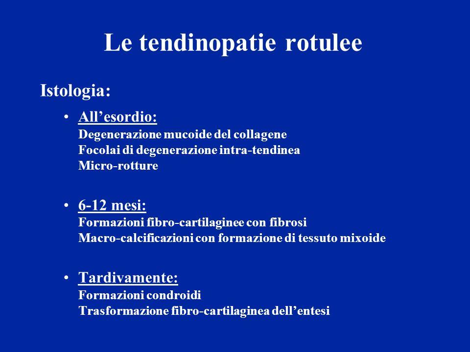 Le tendinopatie rotulee Istologia: Allesordio: Degenerazione mucoide del collagene Focolai di degenerazione intra-tendinea Micro-rotture 6-12 mesi: Fo
