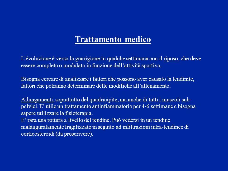 Trattamento medico L'évoluzione è verso la guarigione in qualche settimana con il riposo, che deve essere completo o modulato in funzione dellattività