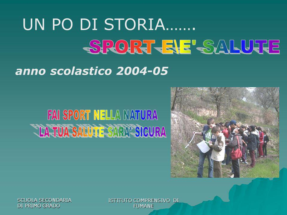 SCUOLA SECONDARIA DI PRIMO GRADO ISTITUTO COMPRENSIVO DI FUMANE anno scolastico 2004-05 UN PO DI STORIA…….