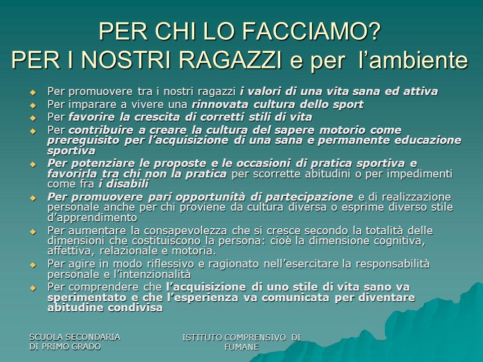 SCUOLA SECONDARIA DI PRIMO GRADO ISTITUTO COMPRENSIVO DI FUMANE PER CHI LO FACCIAMO.