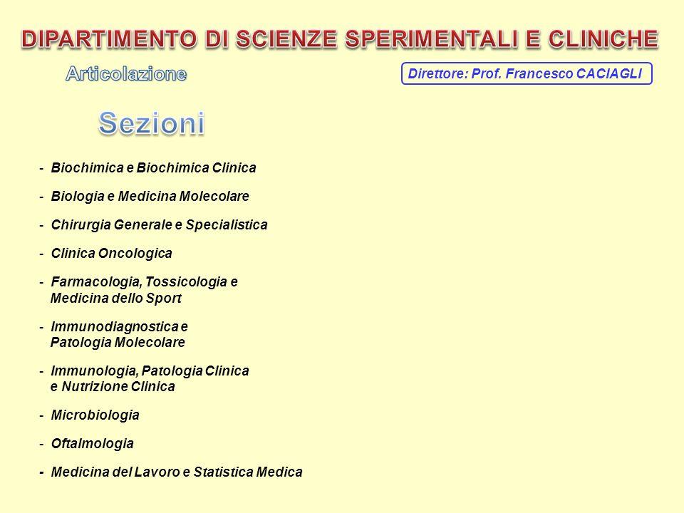 - Biochimica e Biochimica Clinica - Biologia e Medicina Molecolare - Chirurgia Generale e Specialistica - Clinica Oncologica - Farmacologia, Tossicolo