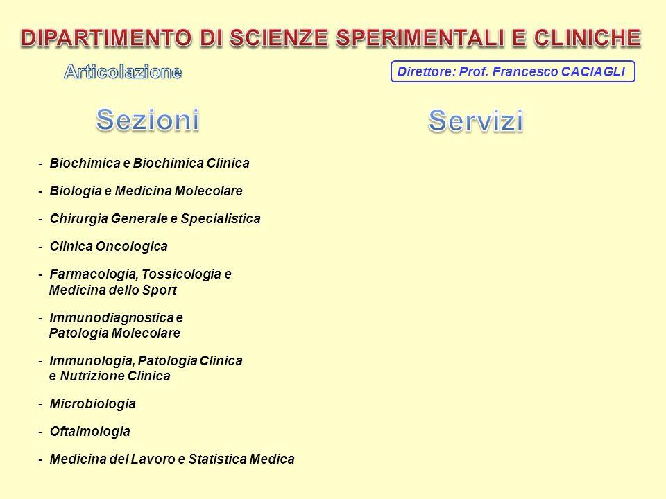 Direttore: Prof. Francesco CACIAGLI - Biochimica e Biochimica Clinica - Biologia e Medicina Molecolare - Chirurgia Generale e Specialistica - Clinica