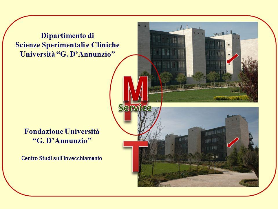 Fondazione Università G. DAnnunzio Centro Studi sullInvecchiamento Dipartimento di Scienze Sperimentali e Cliniche Università G. DAnnunzio
