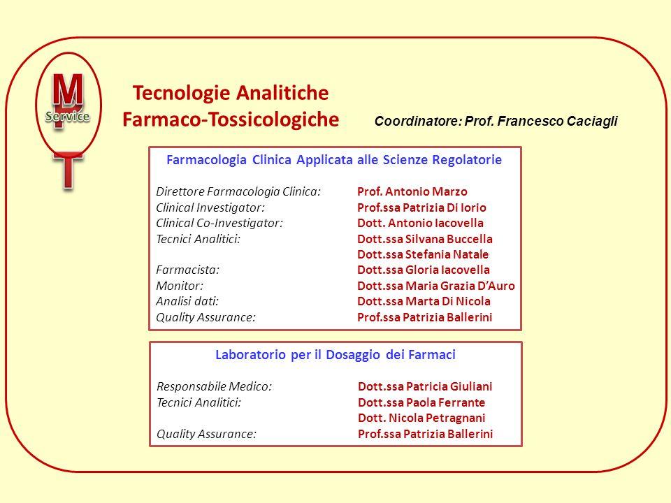 Tecnologie Analitiche Farmaco-Tossicologiche Farmacologia Clinica Applicata alle Scienze Regolatorie Direttore Farmacologia Clinica: Prof. Antonio Mar